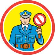 traffic policeman stop hand signal cartoon - stock illustration