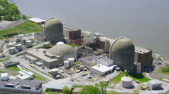Aerial view of Indian Point Power Plant New York - stock footage