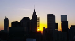 Aerial shot of sunset over New York City skyline Stock Footage