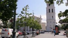 View of Vilnius Cathedral Bell Tower and Vilnius cathedral from Gediminas Avenue Stock Footage