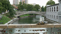 View from popular among romantic couples Mesarski most (butcher's bridge) Stock Footage