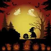 Halloween landscape, ghosts, pumpkins and witch - stock illustration