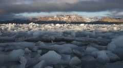 Arctic landscape - ice in the fjord - Spitsbergen, Svalbard Stock Footage