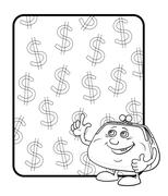 Purse and poster with dollars, contours Stock Illustration
