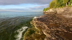Cave Point Coast Loop Stock Footage
