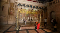 Jerusalem 4K Church of the Holy Sepulchre Stone of Anointing 2 25P - stock footage