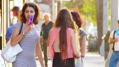Group of women shopping on Melrose Avenue in Los Angeles, California Stock Footage
