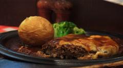 Cutting Hamburg Steak At A Restaurant In Akihabara 02 4K Stock Footage