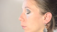 Face makeup with a powder Stock Footage