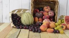 Basket of seasonal fruits Stock Footage