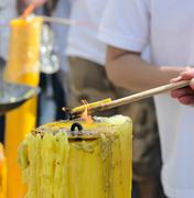 burning incense sticks - stock photo