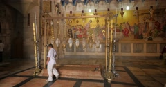 Jerusalem 4K Church of the Holy Sepulchre Stone of Anointing 2 24P - stock footage