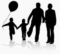 grandparents with grandchildren silhouettes - stock illustration