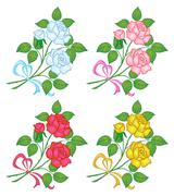 Flowers rose, set Stock Illustration