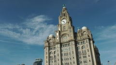 Liver building in liverpool with clouds during summer Stock Footage