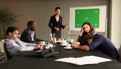Boring presentation. People sleeping and bored. Green screen on whiteboard. Stock Footage