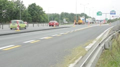 Stock Video Footage of highway with cars and nature - roadworks