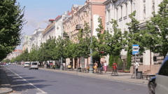 Gediminas Avenue is the main street of Vilnius with historical buildings, static Stock Footage