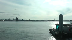 View of the wirral from liverpool docks in summer Stock Footage