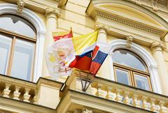 Slovak and vatican flags on the building of the great seminary in nitra Stock Photos