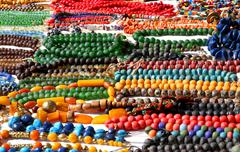 Nice african-style necklaces for sale at flea market Stock Photos