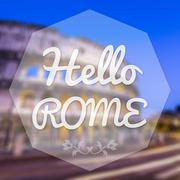 Hello rome italy background greeting card. Stock Illustration