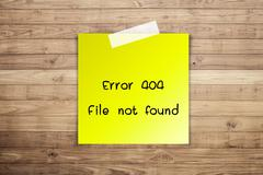 404 error file not found on brown wood plank wall texture background Stock Photos