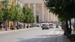 View of Vilnius Cathedral from Gediminas Avenue Stock Footage