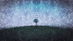 Lonely tree on rainy day ,skech,surreal Stock Footage