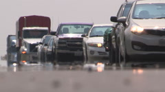 Epic traffic jam on highway in rush hour on hot summer day, heat waves rising.. Stock Footage