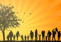big family silhouettes - stock illustration