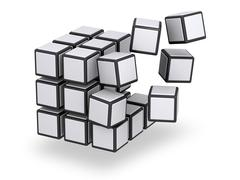 cube being assembled or disassembled - stock illustration