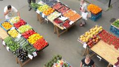 Farmers Market with people - stock footage