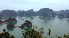 Halong bay Vietnam. Panoramic landscape view Stock Footage