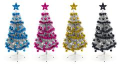 cyan, magenta, yellow and black christmas trees - stock photo