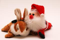 Colleagues - easterbunny and St. Claus Stock Photos