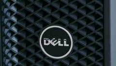 Dell Computer logo on powerful workstation Stock Footage