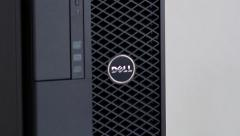 Zoom in to Dell Computers logotype - stock footage