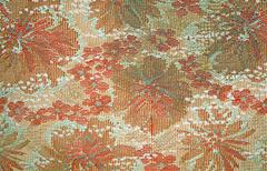 texture of the old tapestry fabric with faded red floral pattern - stock photo