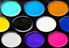 Watercolor paints in a box close up as background Stock Photos