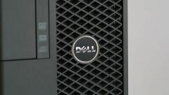 Zoom in to Dell Computers logotype Stock Footage