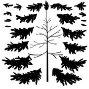 Christmas tree trunk and branches silhouettes Stock Illustration