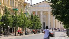 View of Vilnius Cathedral from Gediminas Avenue, historical buildings Stock Footage