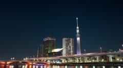 T/L Night at Sumida river, Tokyo, Japan Stock Footage