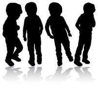 boys silhouettes - stock illustration