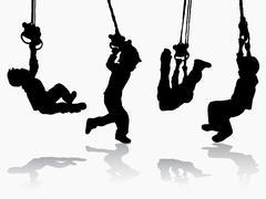 boy gymnastic silhouette - stock illustration