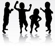 Boys silhouettes Stock Illustration
