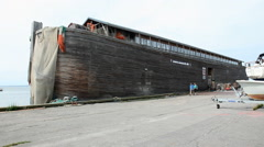 A vessel modeled after the biblical description of Noah's Ark Stock Footage