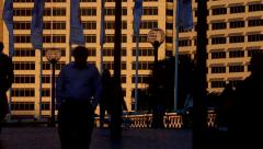 Walking towards the last light in the city Stock Footage