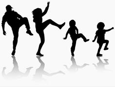 family gymnastic together - stock illustration